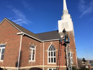 Church front working