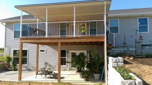 Patio cover with railing